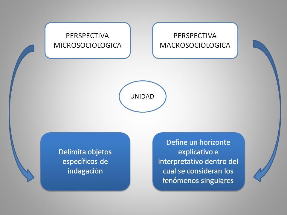PERSPECTIVA MICROSOCIOLOGICA PERSPECTIVA MACROSOCIOLOGICA