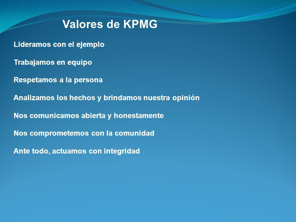 Valores de KPMG Lideramos con el ejemplo Trabajamos en equipo