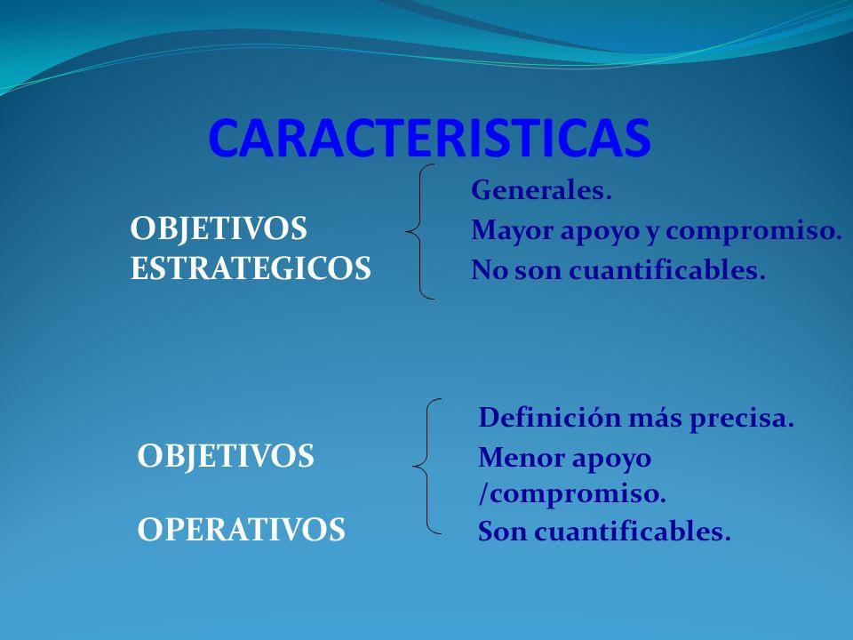 CARACTERISTICAS Generales. OBJETIVOS Mayor apoyo y compromiso.