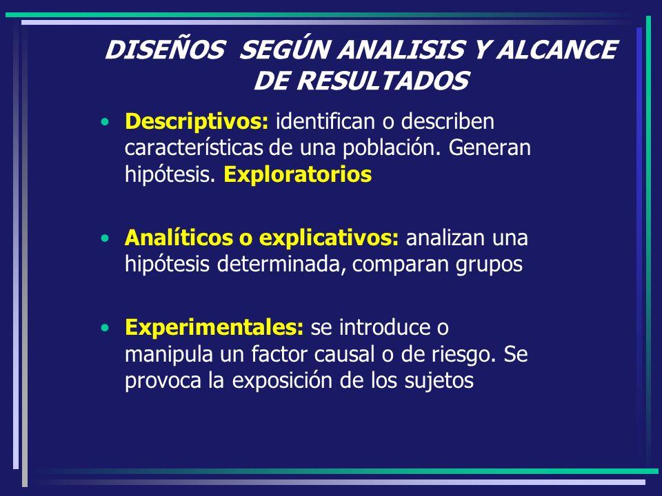 DISEÑOS SEGÚN ANALISIS Y ALCANCE DE RESULTADOS