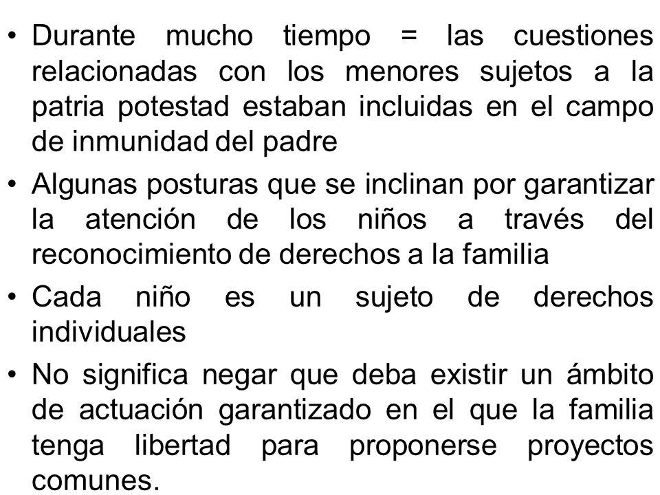 Durante mucho tiempo = las cuestiones relacionadas con los menores sujetos a la patria potestad estaban incluidas en el campo de inmunidad del padre