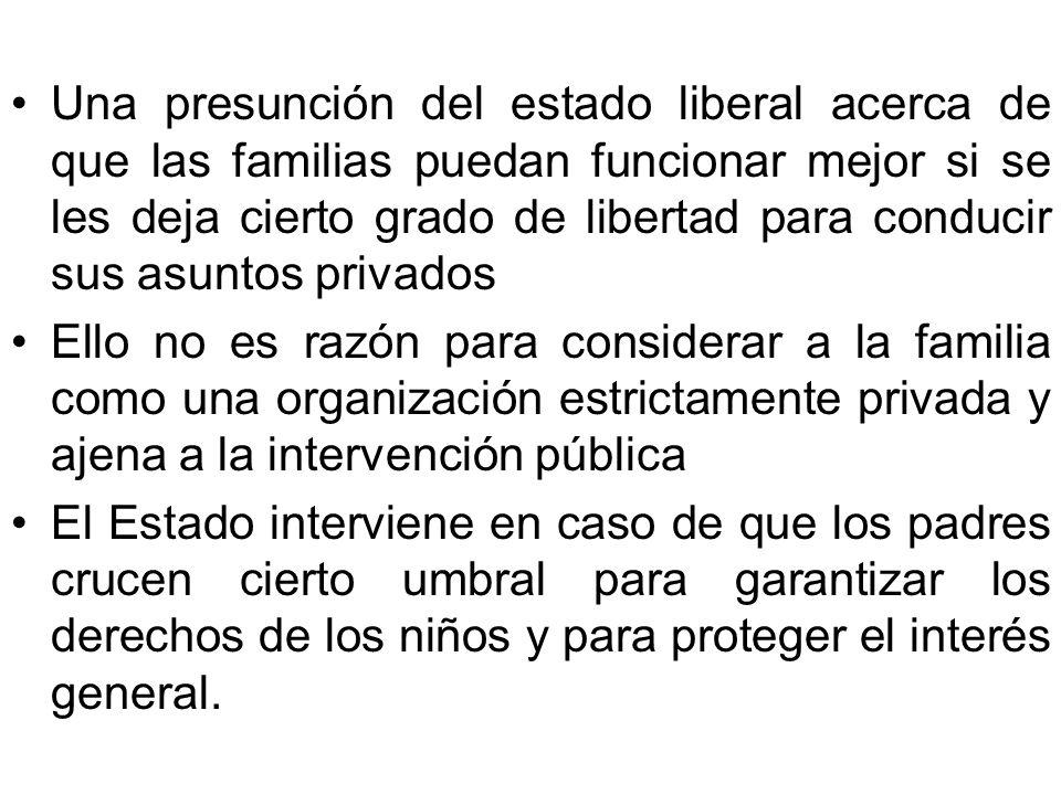 Una presunción del estado liberal acerca de que las familias puedan funcionar mejor si se les deja cierto grado de libertad para conducir sus asuntos privados