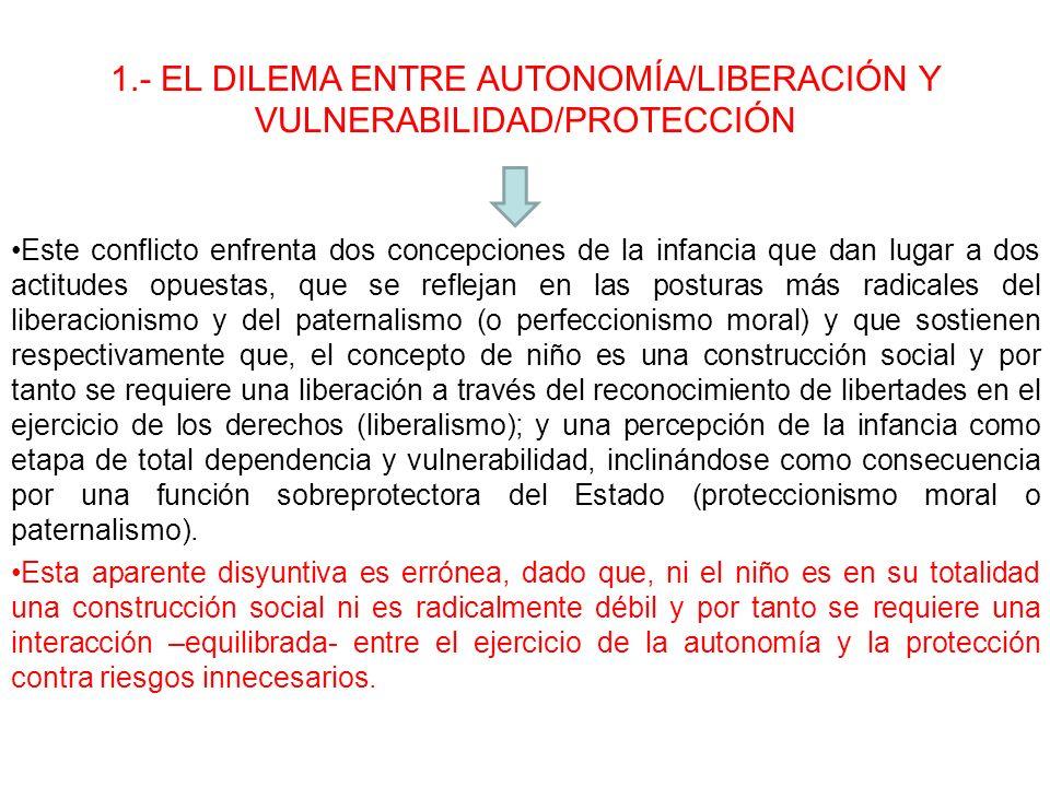 1.- EL DILEMA ENTRE AUTONOMÍA/LIBERACIÓN Y VULNERABILIDAD/PROTECCIÓN