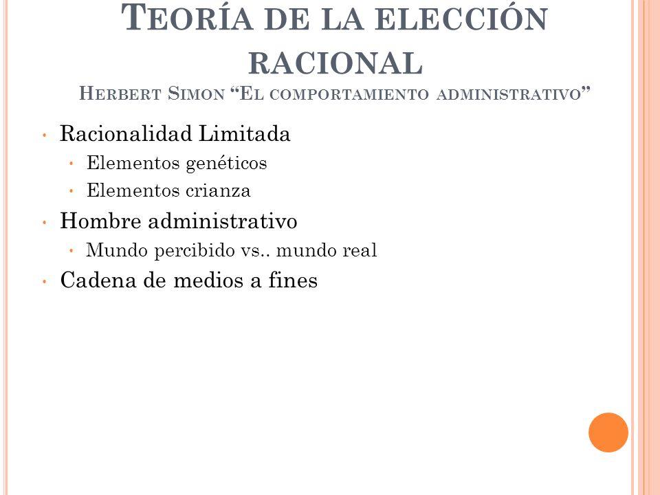 Teoría de la elección racional Herbert Simon El comportamiento administrativo