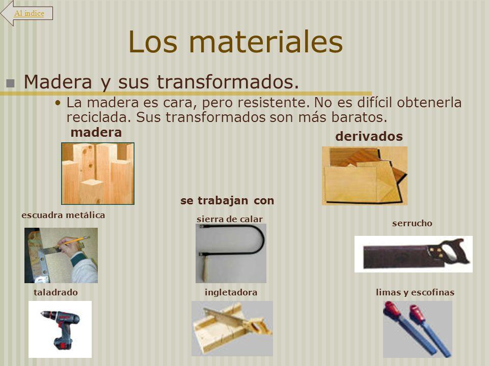 Los materiales Madera y sus transformados.