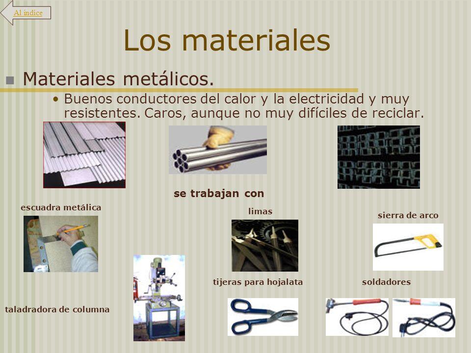 Los materiales Materiales metálicos.