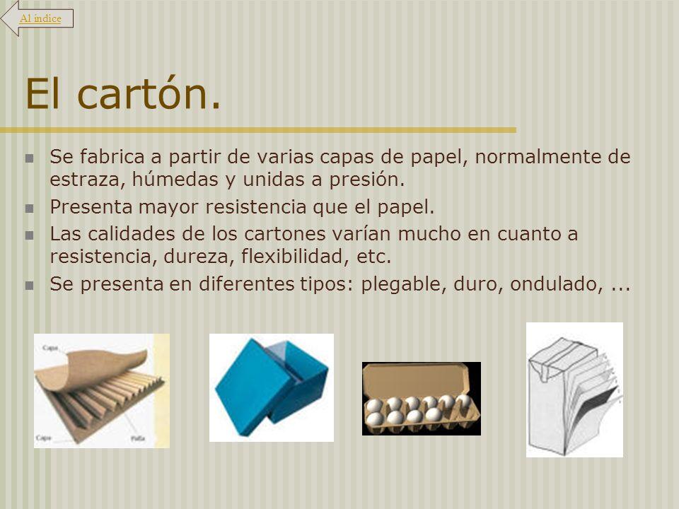 Al índice El cartón. Se fabrica a partir de varias capas de papel, normalmente de estraza, húmedas y unidas a presión.