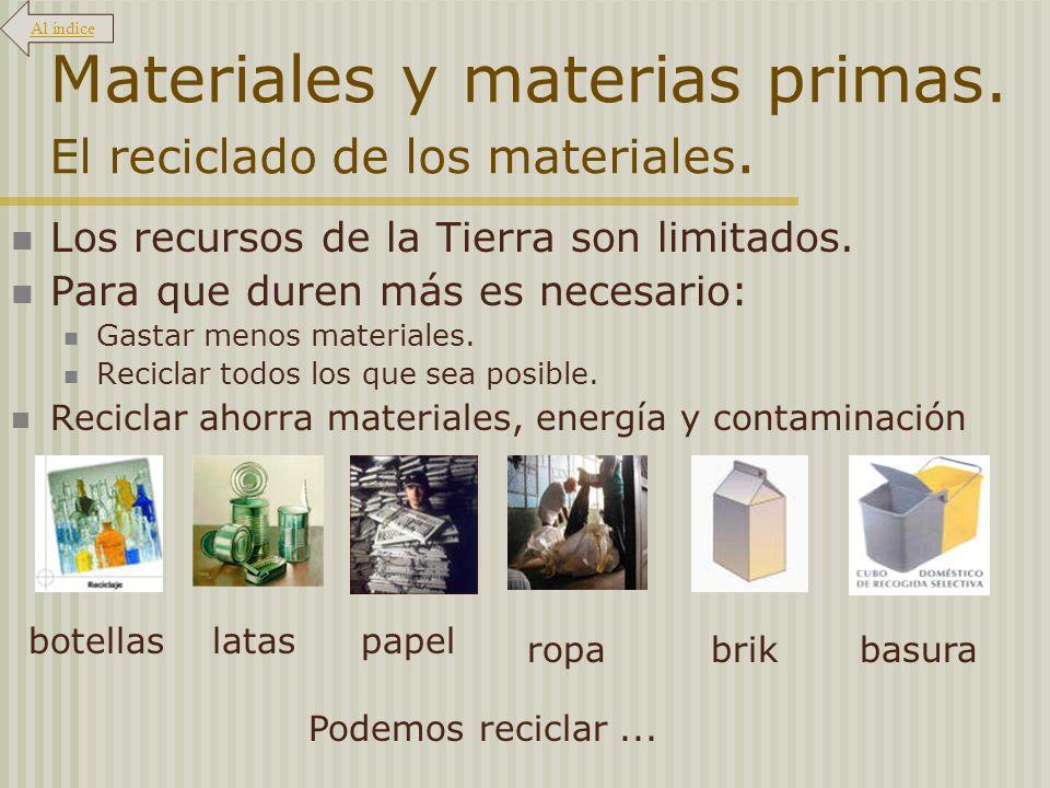 Materiales y materias primas. El reciclado de los materiales.