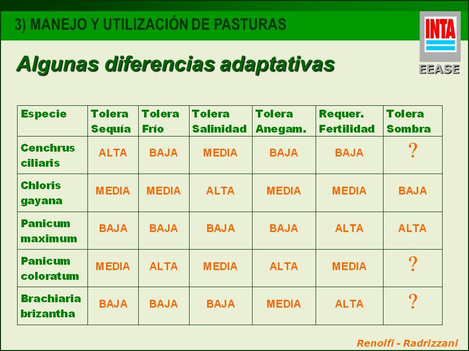 Algunas diferencias adaptativas