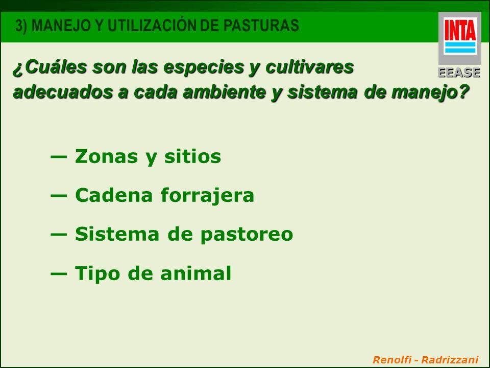 EEASE 3) MANEJO Y UTILIZACIÓN DE PASTURAS. ¿Cuáles son las especies y cultivares adecuados a cada ambiente y sistema de manejo