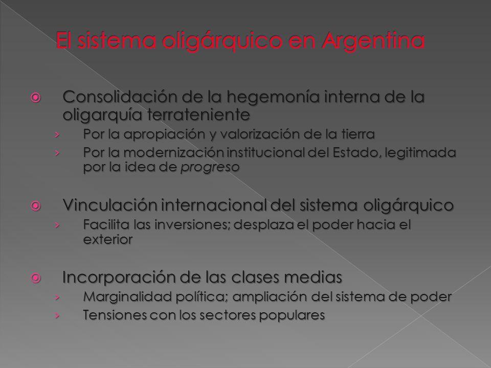 El sistema oligárquico en Argentina