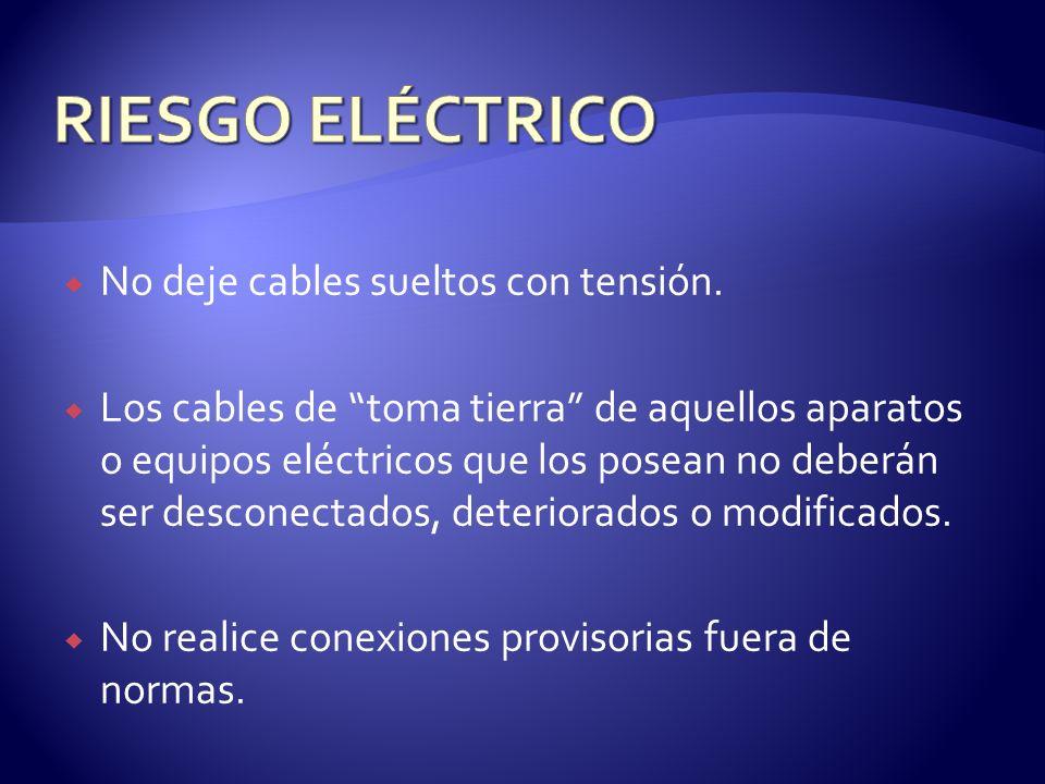 RIESGO ELÉCTRICO No deje cables sueltos con tensión.