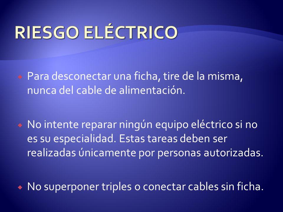 RIESGO ELÉCTRICO Para desconectar una ficha, tire de la misma, nunca del cable de alimentación.