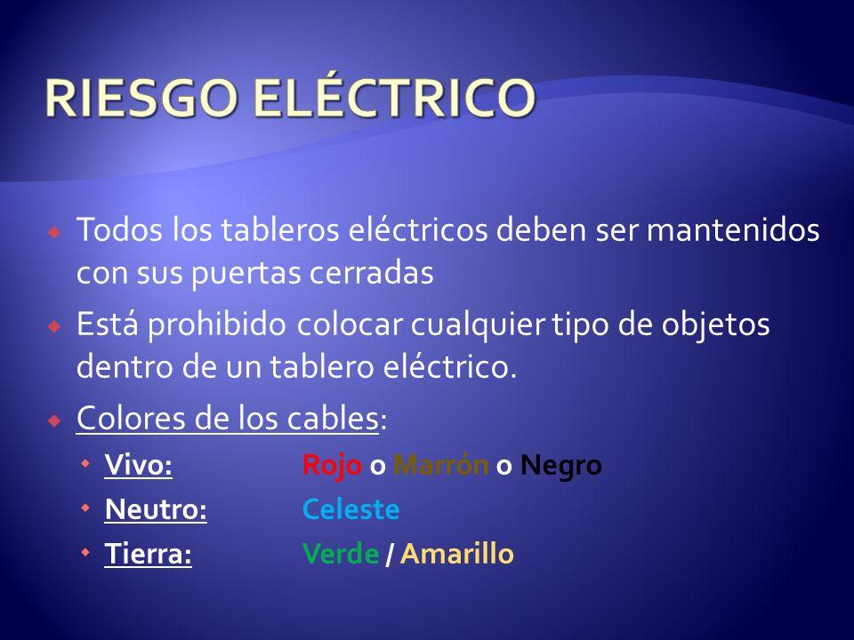 RIESGO ELÉCTRICO Todos los tableros eléctricos deben ser mantenidos con sus puertas cerradas.