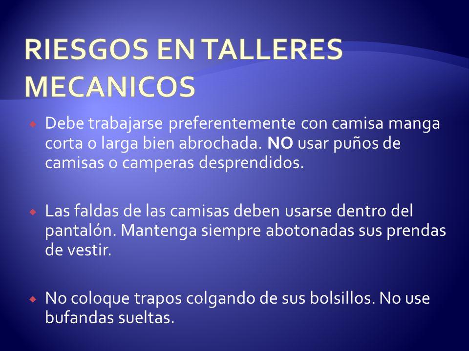 RIESGOS EN TALLERES MECANICOS