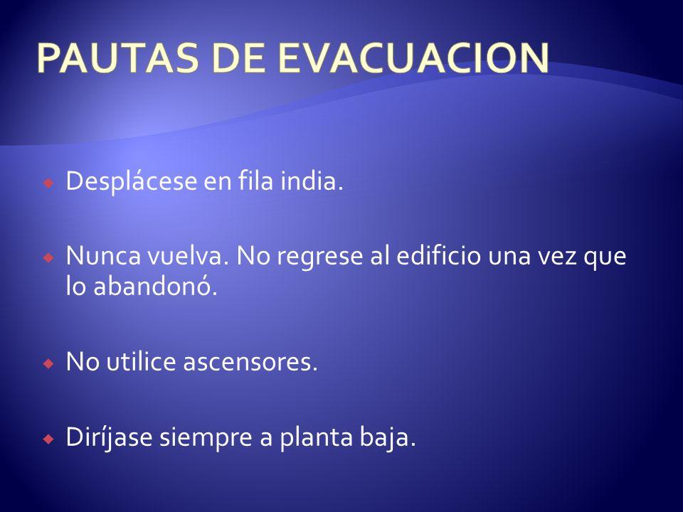 PAUTAS DE EVACUACION Desplácese en fila india.