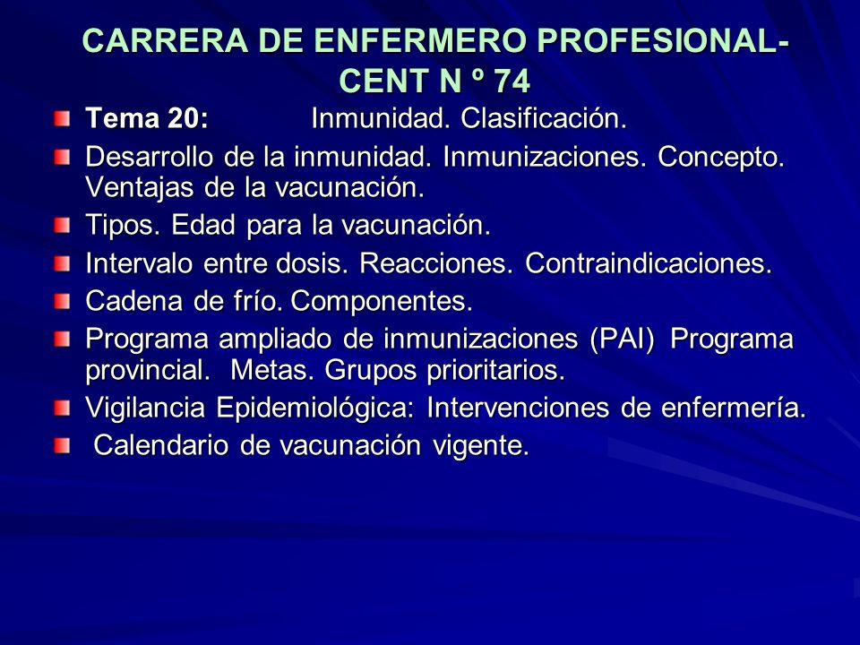 CARRERA DE ENFERMERO PROFESIONAL- CENT N º 74