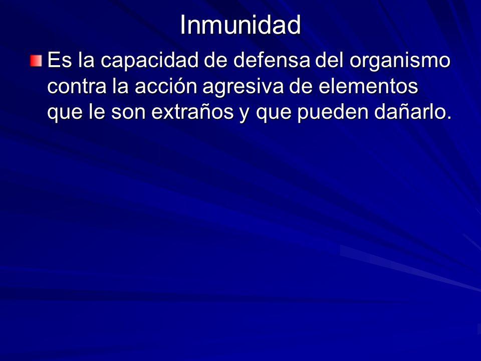 Inmunidad Es la capacidad de defensa del organismo contra la acción agresiva de elementos que le son extraños y que pueden dañarlo.