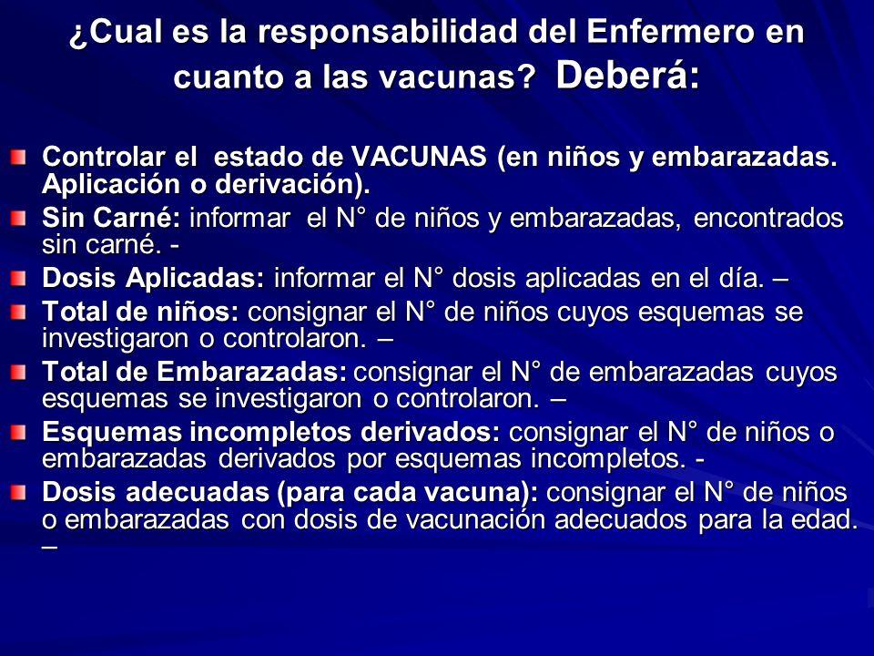 ¿Cual es la responsabilidad del Enfermero en cuanto a las vacunas