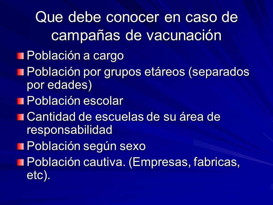 Que debe conocer en caso de campañas de vacunación