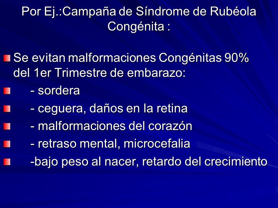 Por Ej.:Campaña de Síndrome de Rubéola Congénita :