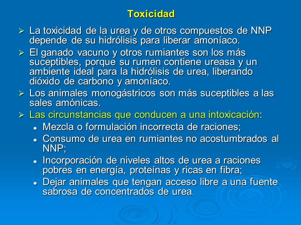 Toxicidad La toxicidad de la urea y de otros compuestos de NNP depende de su hidrólisis para liberar amoníaco.