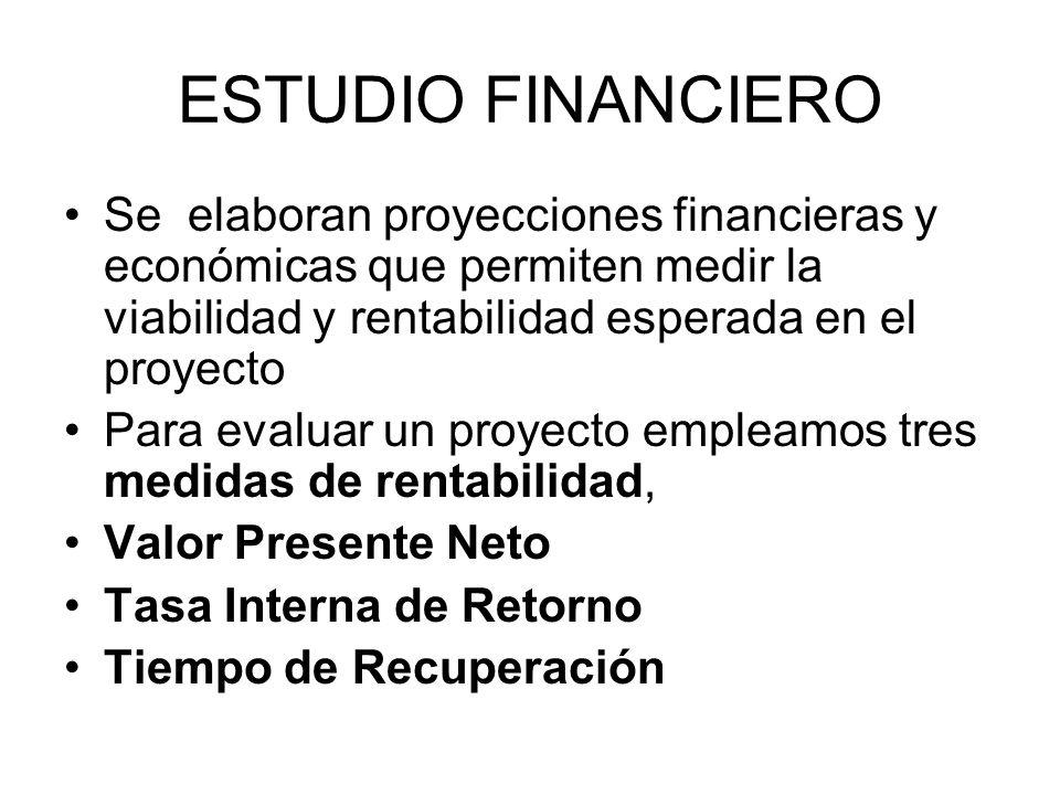 ESTUDIO FINANCIERO Se elaboran proyecciones financieras y económicas que permiten medir la viabilidad y rentabilidad esperada en el proyecto.