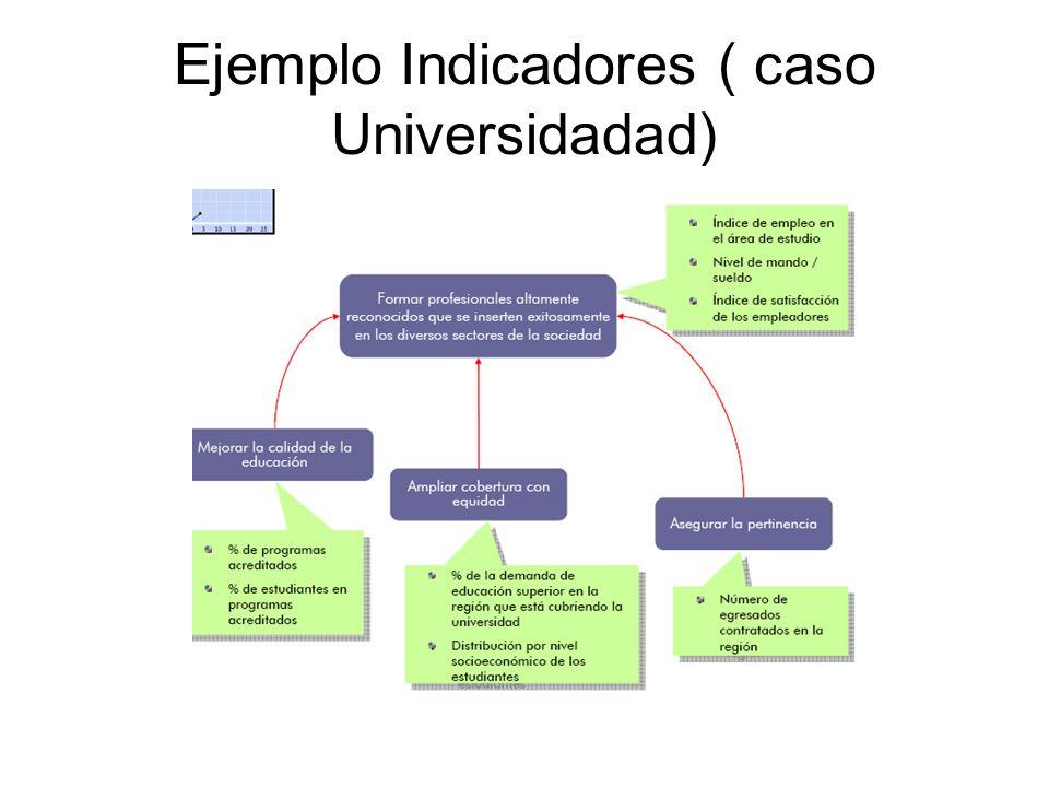 Ejemplo Indicadores ( caso Universidadad)