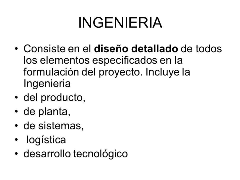 INGENIERIA Consiste en el diseño detallado de todos los elementos especificados en la formulación del proyecto. Incluye la Ingenieria.