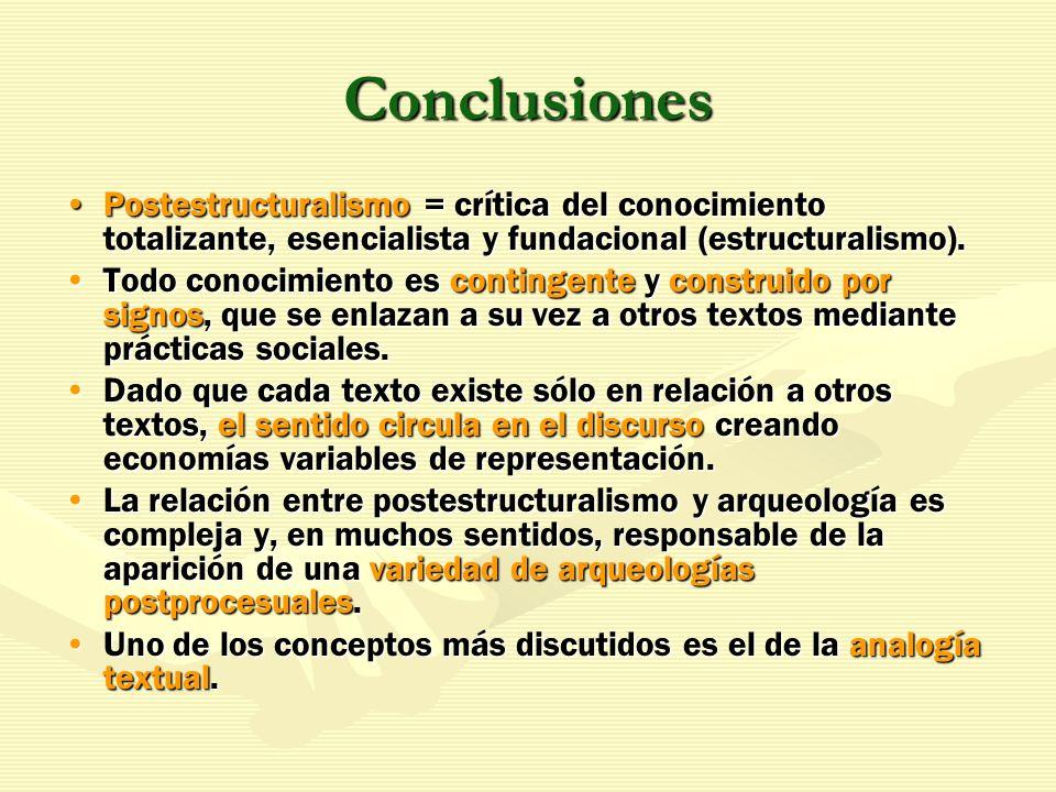 Conclusiones Postestructuralismo = crítica del conocimiento totalizante, esencialista y fundacional (estructuralismo).