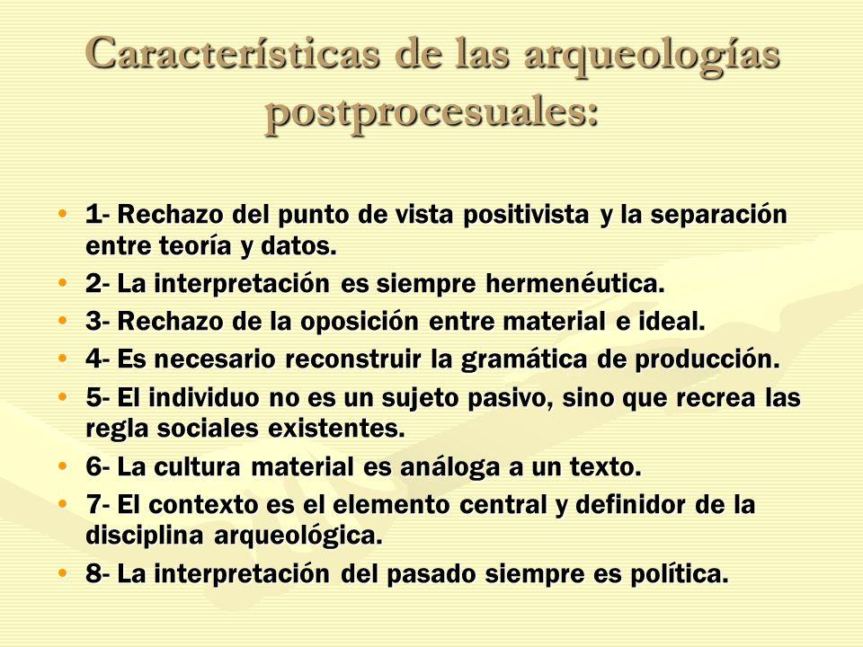 Características de las arqueologías postprocesuales: