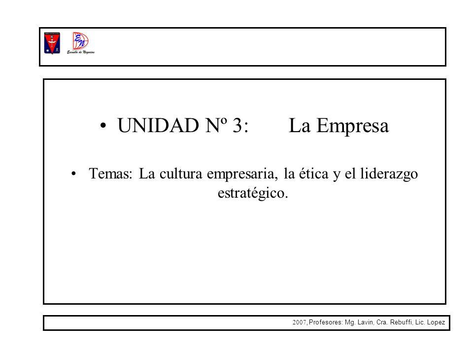 Temas: La cultura empresaria, la ética y el liderazgo estratégico.