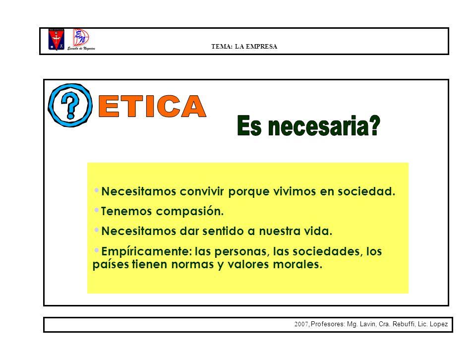 ETICA Es necesaria Necesitamos convivir porque vivimos en sociedad.