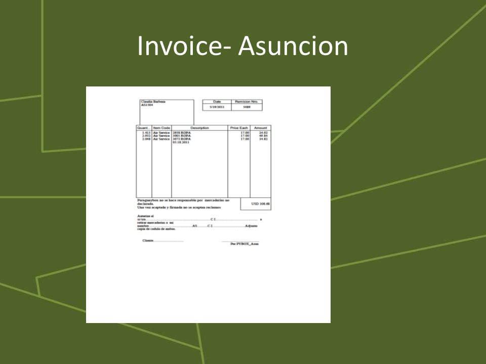 Invoice- Asuncion