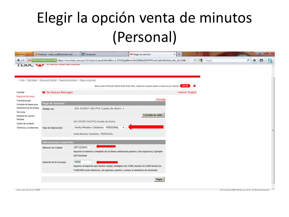 Elegir la opción venta de minutos (Personal)