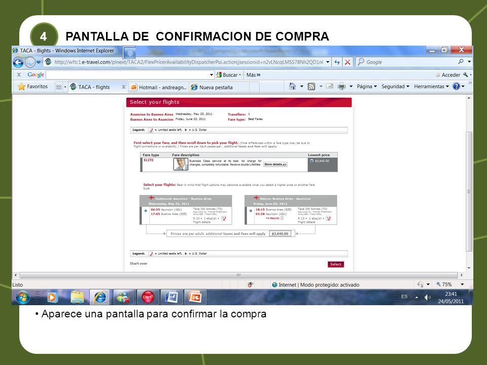 PANTALLA DE CONFIRMACION DE COMPRA