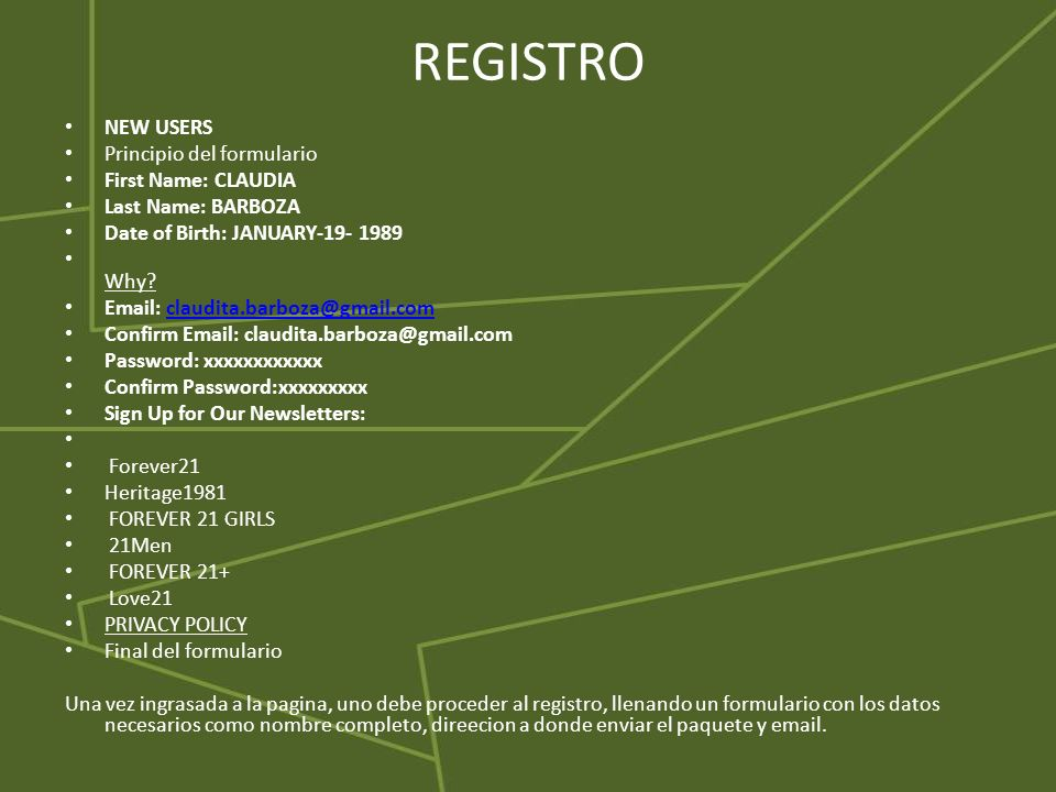 REGISTRO NEW USERS Principio del formulario First Name: CLAUDIA