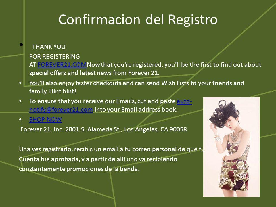 Confirmacion del Registro