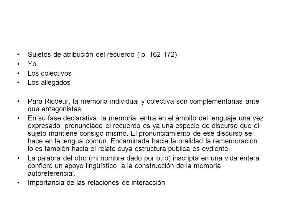 Sujetos de atribución del recuerdo ( p. 162-172)