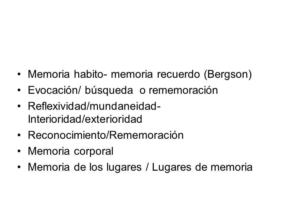 Memoria habito- memoria recuerdo (Bergson)