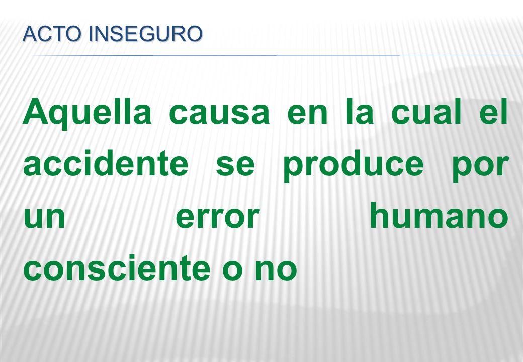 ACTO INSEGURO Aquella causa en la cual el accidente se produce por un error humano consciente o no