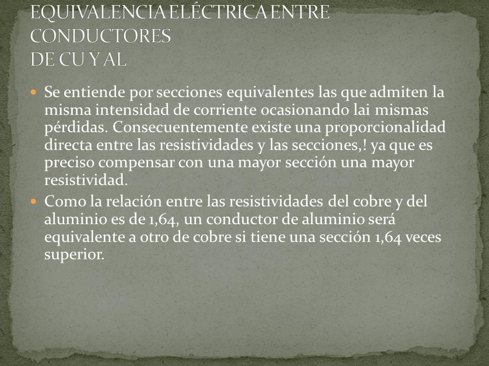 EQUIVALENCIA ELÉCTRICA ENTRE CONDUCTORES DE CU Y AL