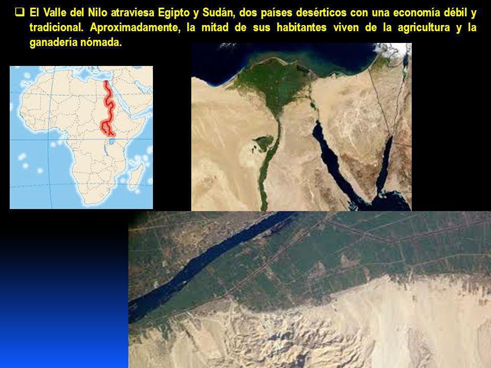 El Valle del Nilo atraviesa Egipto y Sudán, dos países desérticos con una economía débil y tradicional.