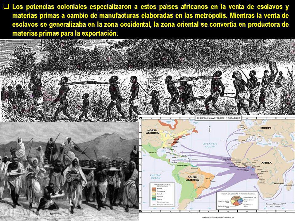Los potencias coloniales especializaron a estos países africanos en la venta de esclavos y materias primas a cambio de manufacturas elaboradas en las metrópolis.