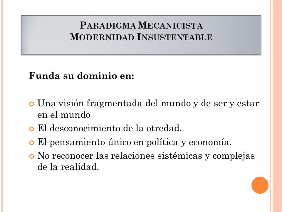 Paradigma Mecanicista Modernidad Insustentable