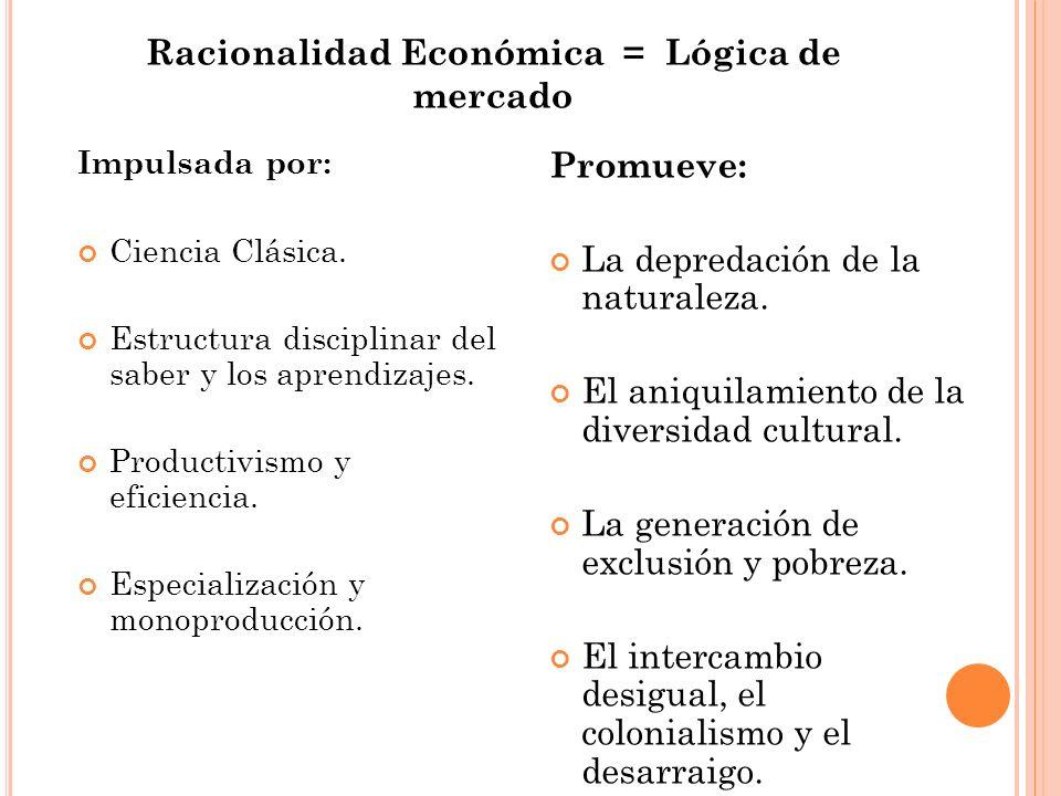 Racionalidad Económica = Lógica de mercado