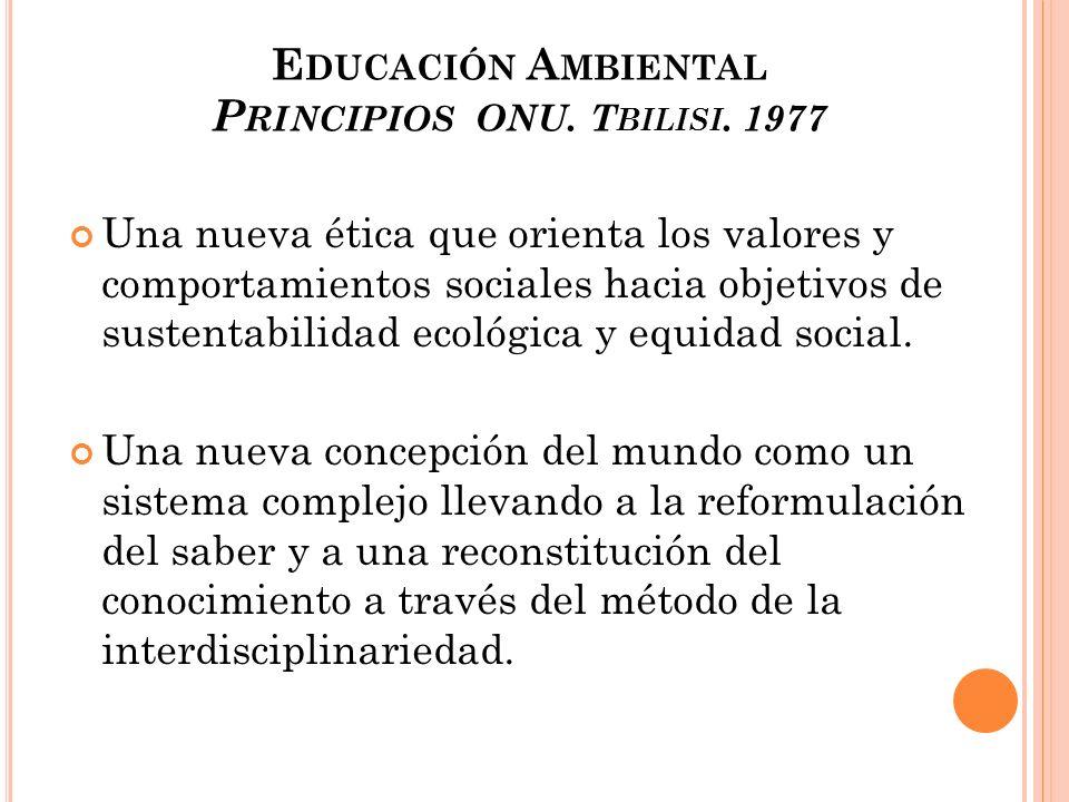 Educación Ambiental Principios ONU. Tbilisi. 1977