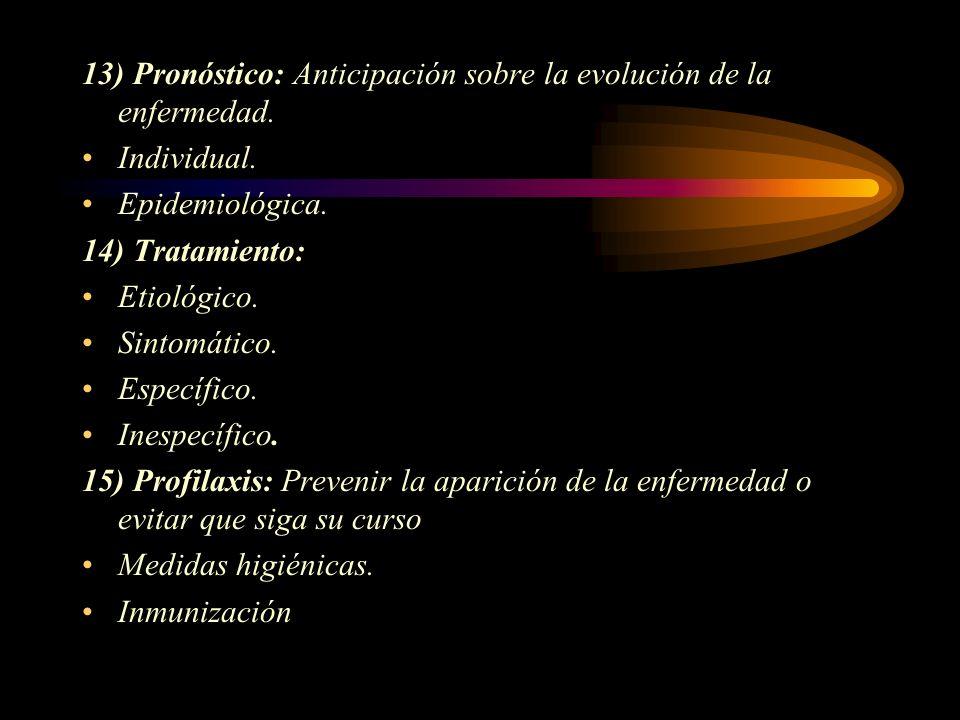 13) Pronóstico: Anticipación sobre la evolución de la enfermedad.