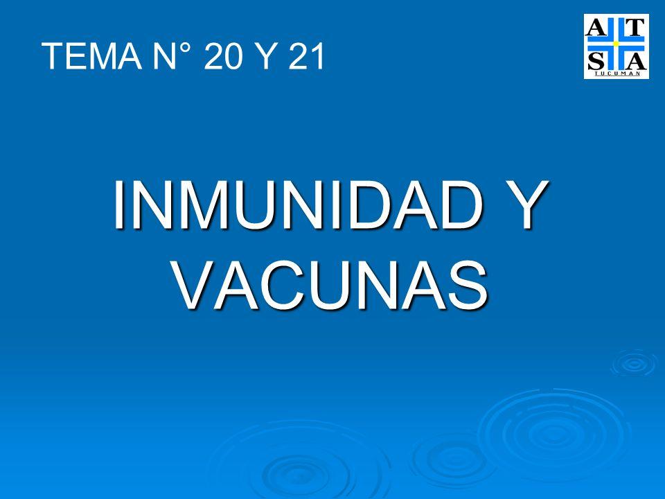 TEMA N° 20 Y 21 INMUNIDAD Y VACUNAS