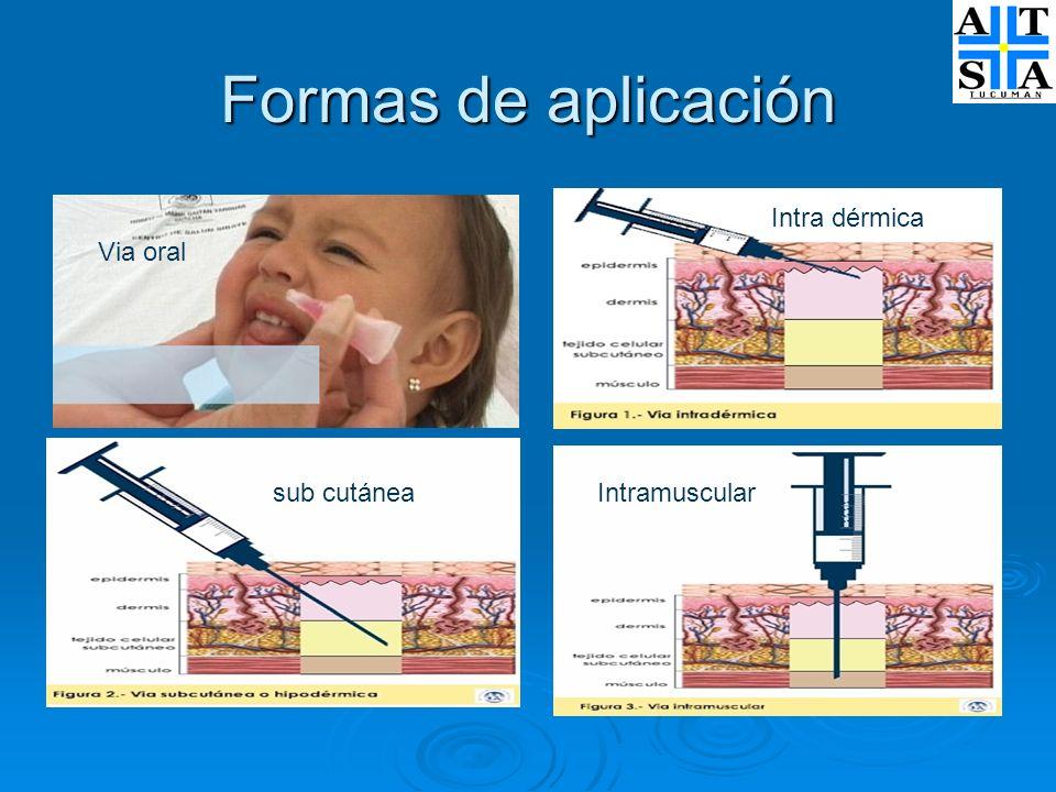 Formas de aplicación Intra dérmica Via oral sub cutánea Intramuscular